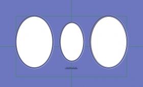 Drei OVALE Ausschnitte, doppeltes Passepartout, in verschiedene Größen erhältlich