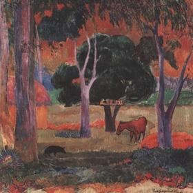 Landschaft mit Schwein. Original gemalt in 1903