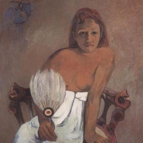 Mädchen mit Fächer. Original gemalt in 1902