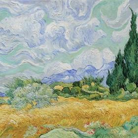 Getreidefeld mit Zypressen von van Gogh