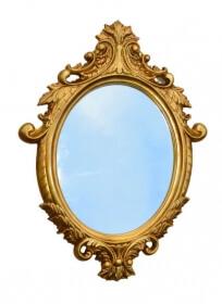 Wandspiegel Gold oval Barock Spiegel Hängespiegel Antik Badspiegel Prunkspiegel 85cm